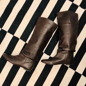 Zara Knee Length Slip on Boot in Dark Brown
